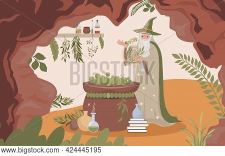 Old Wizard With Long White Beard Preparing Magic Poison Vector Flat Illustration. Magician Man Cave
