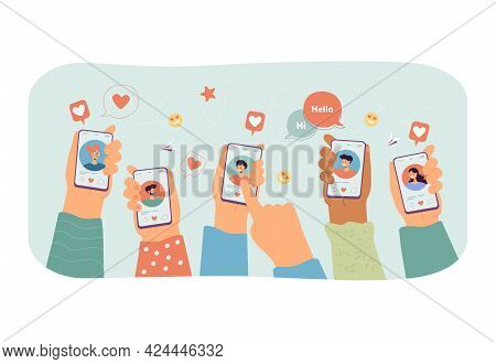 Multiple Hands Holding Smartphones With Dating App On Screen. Flat Vector Illustration. Young People
