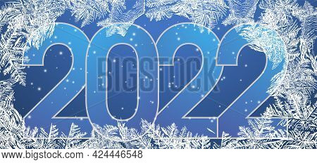 Chinese New Year 2022 Year. Frozen Window Background With Hoarfrost Patterns Can Be Used For Christm