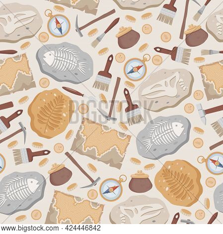 Fossil Fish And Dinosaurs Skeletons And Plants, Maps, Compass, Coins, Brushes, And Archeology Tools