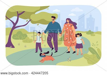 Happy Cartoon Family Walking Dog In Park Together. Flat Vector Illustration. Mother And Dad Characte