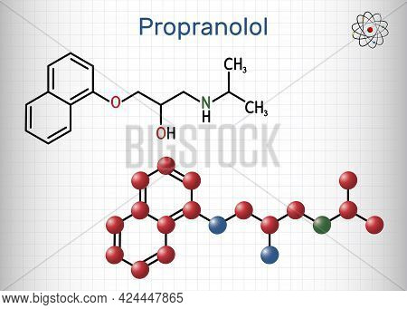 Propranolol Molecule. It Is Synthetic, Nonselective Beta Blocker, Used To Treat For Hypertension She