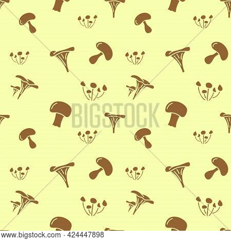 Seamless Vector Pattern Of Mushrooms. For Fabric Paper Wra, Textile Poster Scrapbooking Wallpaper Or