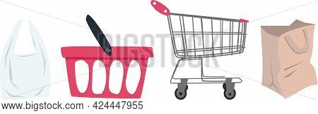 A Set Of Icons. A Cart For Groceries. A Shopping Bag. Shopping Cart For Groceries. Paper Bag For Gro