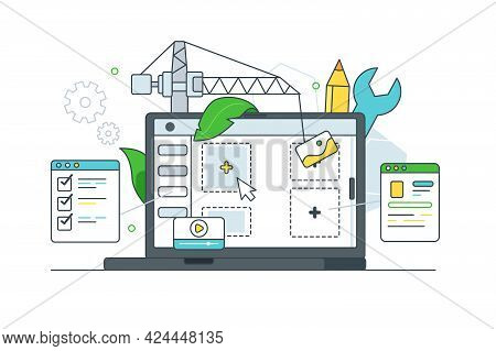 Digital Website Page Layout Development Vector Illustration. Optimization, Website Constructor Flat