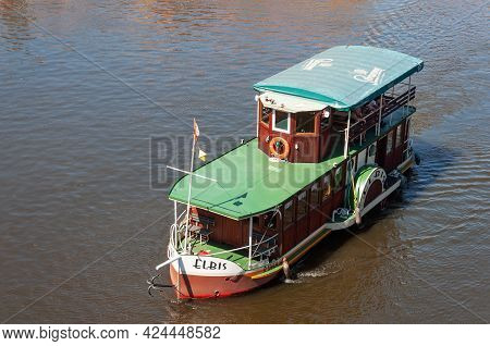 Prague, Czech Republic - July 23, 2019: Old Pleasure Boat With Tourists On Vltava River. View From A