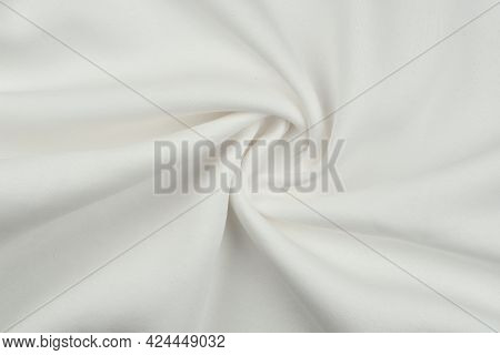 Background From White Monochrome Cotton Fabric. Close Up Texture