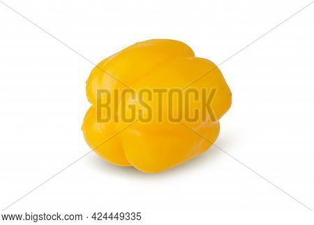Water Droplets On Yellow Bell Pepper Isolated On A White Background