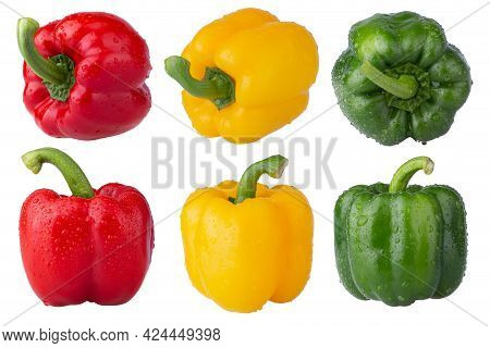 Red Bell Pepper Green Bell Pepper And Yellow Bell Pepper  On White Background