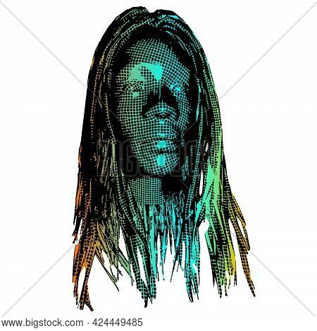 Wow Pop Art Face. Sexy Surprised Girl With 3d Mesh. Vector Colorful Background In Pop Art Retro Comi