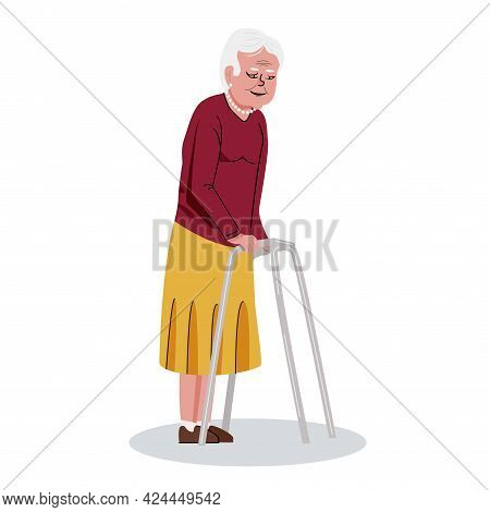 Elderly Woman Using A Walking Frame. Disabled Female Character. Cartoon Vector Illustration