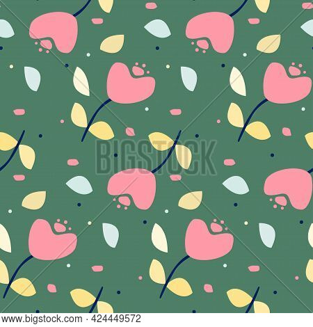 Cute Seamless Pattern With Heart Flowers And Leaves. Cartoon Doodle Vector Texture