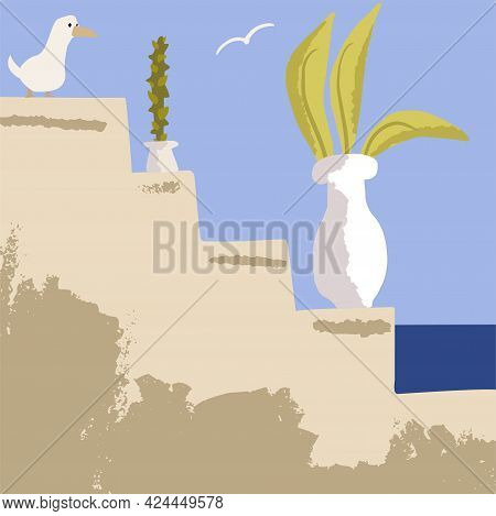 Cactus And Abstract Plant In White Vase On An Ancient Staircase. Vector Illustration In A Minimal Bo