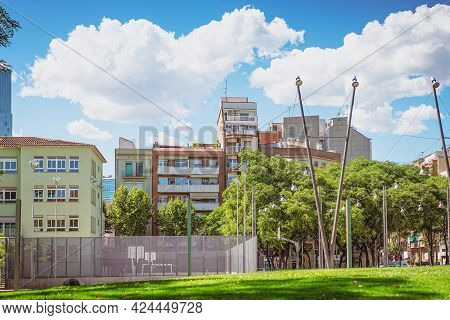 Public Space Shared By Adjoining Buildings. Tenements With Sports Ground, Basketball Court And Recre
