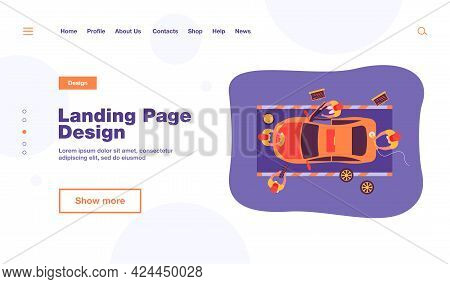 Automobile Service Team Working On Car, Washing And Polishing Vehicle, Changing Wheels. Vector Illus