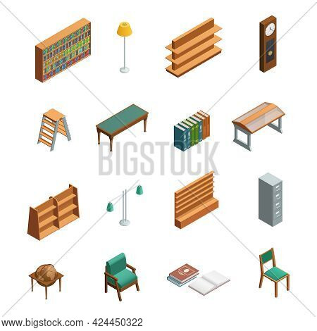 Bookstore And Library Isometric Interior Elements Set With Furniture Isolated On White Background Ve