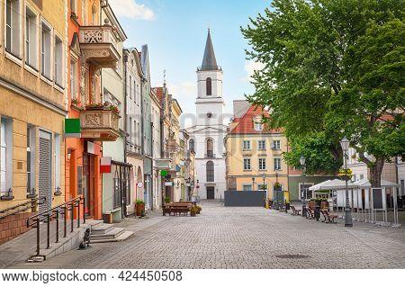 View Of  Church Of Our Lady Of Czestochowa From Stary Rynek Square In Zielona Gora, Polnad