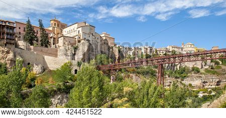 Panoramic view of the old town of Cuenca, Castilla-La Mancha, Spain. Landscape