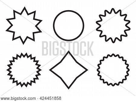 Vector Frames For Messages, In Form Of Star, Circle, Flower, Broken Line, Zigzag, Web Site Design