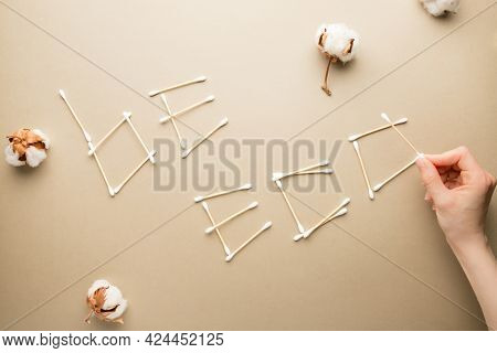 Eco Friendly Concept. Be Eco Inscription Made Of Organic Cotton Swabs