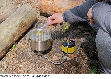 Camping Food Making. Travel Food For Outdoor Activities. Food In Bowls In The Forest.