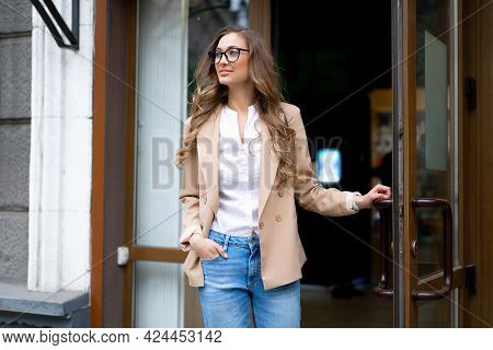 Business Woman Come Out Store Door Outside Caucasian Female Business Person Standing Near Shop Doorw