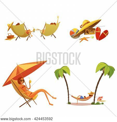 Summer Holiday Cartoon Icons Set With Chaise Lounge And Palms Isolated Vector Illustration
