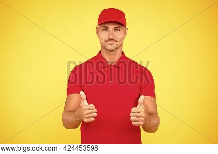 Freight Transportation. Perfect Delivery. Delivery Man Yellow Background. Express Delivery Courier S