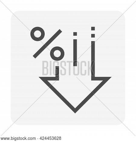 Percent Decrease Vector Design. Consist Of Down Arrow And Percent Sign, Icon Or Symbol. Concept For