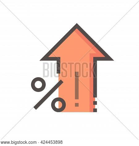 Percent Increase Vector Design. Consist Of Up Arrow And Percent Sign, Icon Or Symbol. Concept For Pe