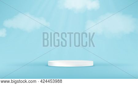 White Round Pedestal Podium In Blue Sky Studio Room With Cloud.vector 3d Blue Sky Gallery Room With