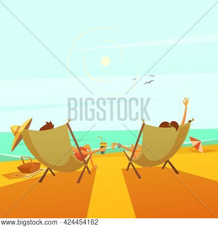 Beach Rest Background With A Couple In Chaise Lounges At Sea Cartoon Vector Illustration