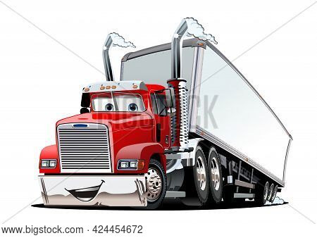 Cartoon Cargo Semi Truck Isolated On White Background. Available Eps-10 Format Separated By Groups A
