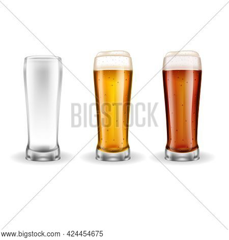 Three Transparent Realistic Glasses Of Lager With Light Golden Color On White Background Vector Illu
