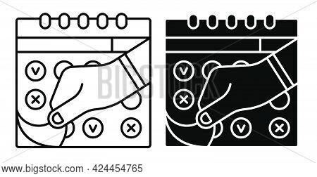 Male Hand Tearing Sheet Of Wall Calendar Icon. Marking Days Of Week, Months On Calendar. Simple Blac