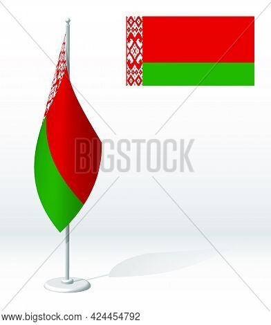 Republic Of Belarus Flag On Flagpole For Registration Of Solemn Event, Meeting Foreign Guests. Natio