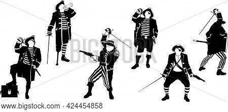 A Small Set Of Silhouettes Of Pirate Captains In Different Situations With Weapons Having A Rest And