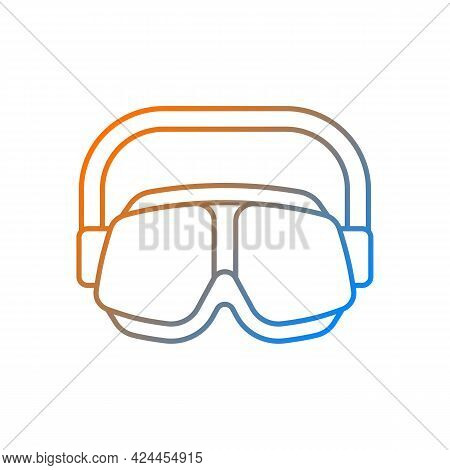Swimming Goggles Gradient Linear Vector Icon. Eyes Protection In Swimming Pool. Watertight Equipment