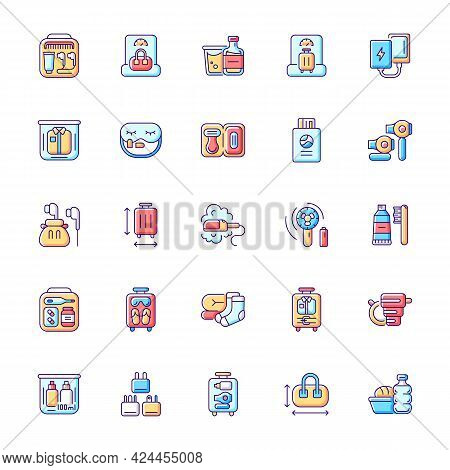 Travel Size Objects Rgb Color Icons Set. Portable Stuff For Flight Passenger. Isolated Vector Illust