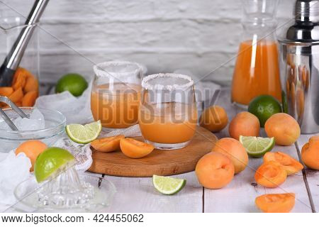 Apricot Margarita - Made From Freshly Made From Apricot Juice, Lime Juice And Tequila. Enjoy This Li