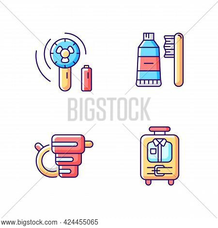 Things For Travelling Tourist Suitcase Rgb Color Icons Set. Compact Fan. Toothbrush And Paste. Isola