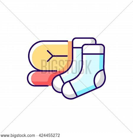 Socks And Blanket Rgb Color Icon. Portable Amenities For Camping Comfort. Essential Things For Touri