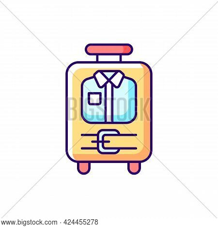 Open Suitcase With Clothing Rgb Color Icon. Garments And Apparel In Traveller Baggage. Essential Thi