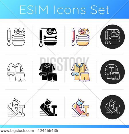 Daily Activities Icons Set. Pet Lead And Food. Sleepwear For Bedtime, Pajamas For Night Rest. Mornin