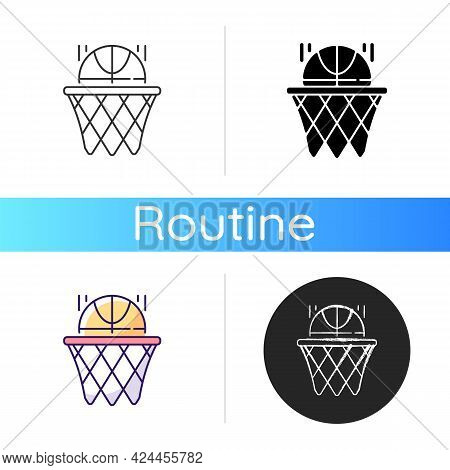 Basketball Icon. Team Sport For Exercise. Scoring Goal With Shooting Ball In Hoop. Everyday Routine