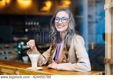 Business Woman Sitting Cafe Behind Window Waiting Business Partner Caucasian Female Resting Cafeteri