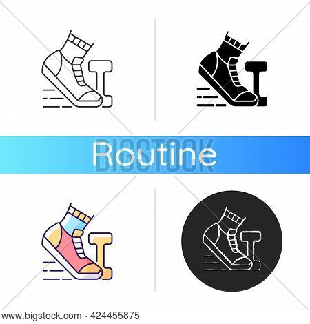 Morning Workout Icon. Running In Mornings For Daily Exercise. Outdoor Sport. Jogging As Healthy Acti