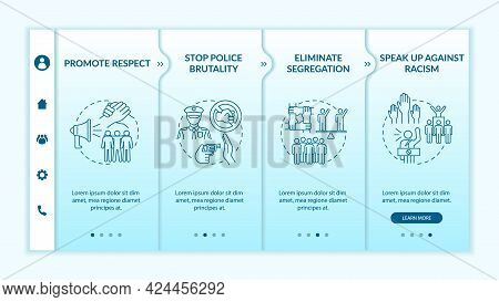 Anti-racism Commitment Onboarding Vector Template. Responsive Mobile Website With Icons. Web Page Wa