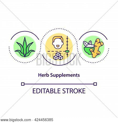 Herb Supplements Level Concept Icon. Organic Foods. Natural Meal Ingredients. Healthy Diet Abstract