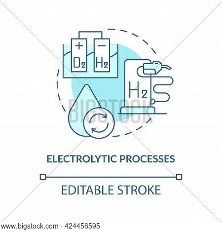 Electrolytic Processes Concept Icon. H2 Fuel Production Abstract Idea Thin Line Illustration. Electr